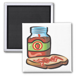 strawberry jelly jam and toast refrigerator magnets