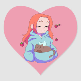 Strawberry Kitty 2 Heart Sticker