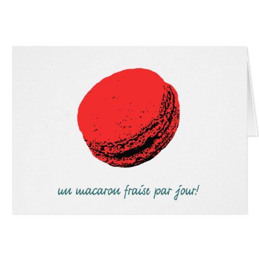 strawberry macaroon card