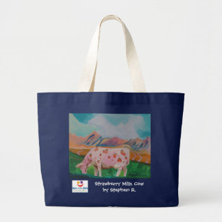 Strawberry Milk Cow by Stephen R. Tote Bags