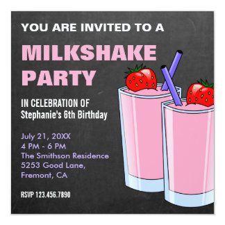 Strawberry Milkshake Chalkboard Birthday Party Card