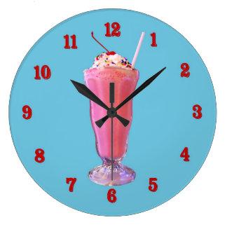 Strawberry Milkshake Large Clock