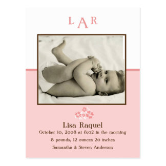 Strawberry Monogram Photo Birth Announcement Postcard