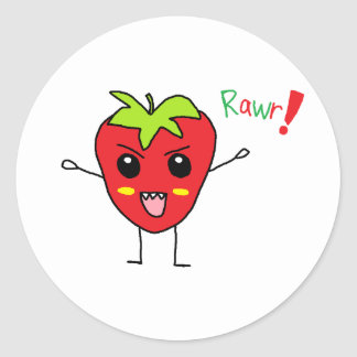 Strawberry Monster Classic Round Sticker