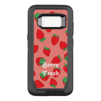 Strawberry on Pink with Text OtterBox Defender Samsung Galaxy S8 Case