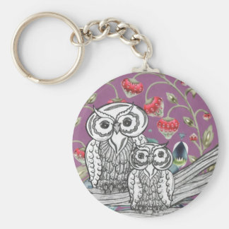 Strawberry Owls Key Ring