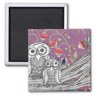 Strawberry Owls Square Magnet