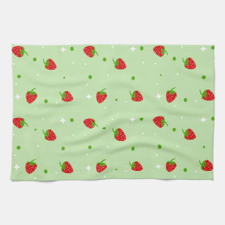 Strawberry Pattern on green background Hand Towel