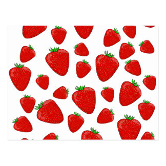 Strawberry pattern postcard
