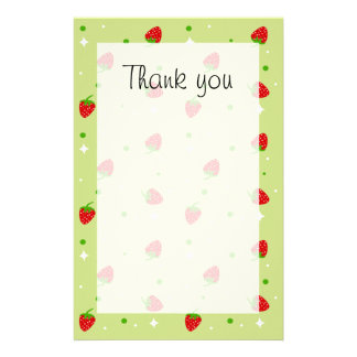 Strawberry pattern Thank you paper Customised Stationery