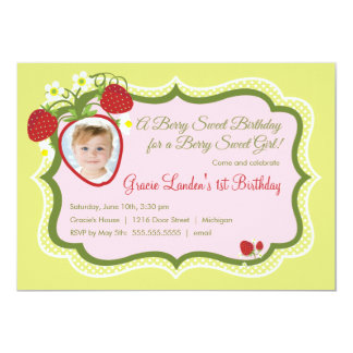 Strawberry |  Photo Birthday Invitation