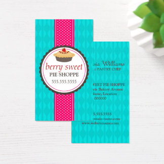 Strawberry Pie and Ribbon Bakery Business Card