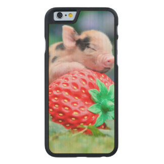 strawberry pig carved maple iPhone 6 case