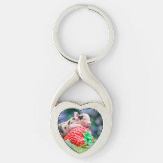strawberry pig key ring
