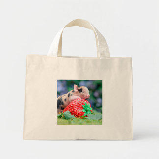 strawberry pig mini tote bag
