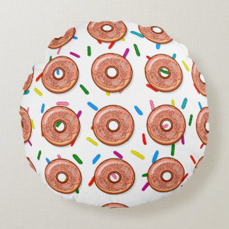 Strawberry Pink Donut Sprinkles Round Pillow