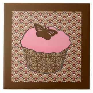Strawberry Pink Frosted Cupcake Large Square Tile
