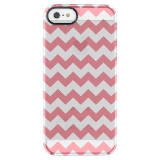 Strawberry Pink White Chevron Pattern Clear iPhone SE/5/5s Case