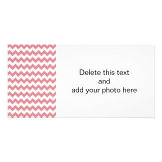 Strawberry Pink White Chevron Pattern Photo Greeting Card
