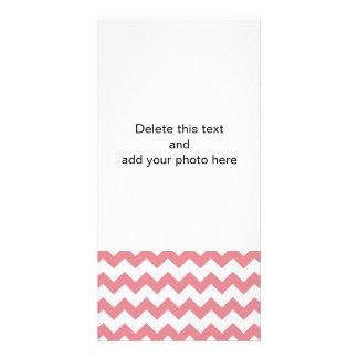 Strawberry Pink White Chevron Pattern Customized Photo Card