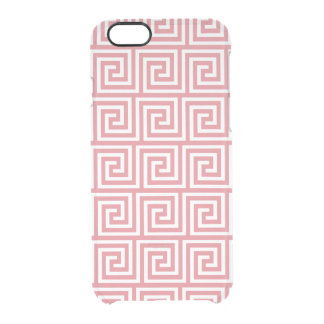 Strawberry Pink White Greek Key Pattern Clear iPhone 6/6S Case