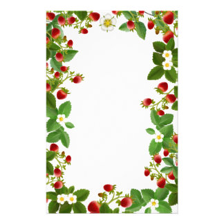 Strawberry Plants Floral Stationery