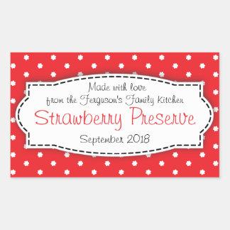 Strawberry preserve or jam jar food label sticker rectangular stickers