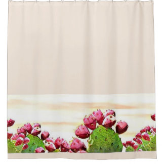 strawberry prickly pear shower curtain