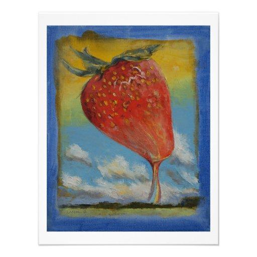 Strawberry Rainbow Custom Invitations