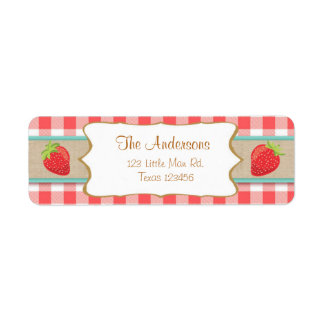 Strawberry Return Address Labels Summer fruit