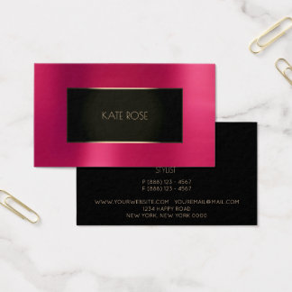 Strawberry Rose Metallic Black Foxier Gold Frame Business Card