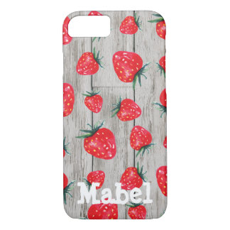 Strawberry Rustic Wood Personalized Case