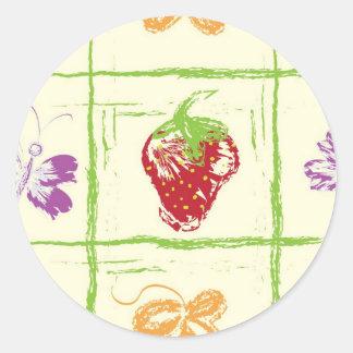 Strawberry Sketch Round Sticker