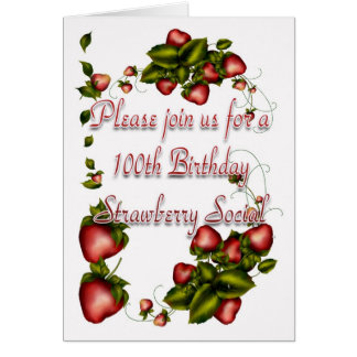 Strawberry Social Invitation - 100th Birthday