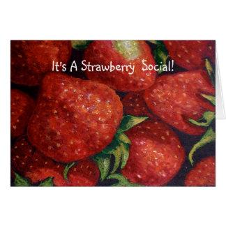 STRAWBERRY SOCIAL INVITE, Realism Art Card