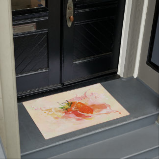 Strawberry Splash! Watercolor Doormat