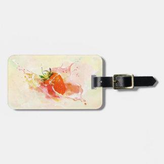 Strawberry Splash! Watercolor Luggage Tag
