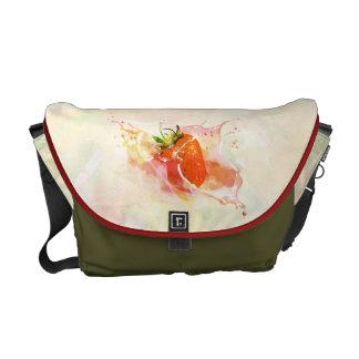 Strawberry Splash! Watercolor Messenger Bag