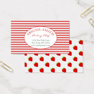 Strawberry & Stripes Personalized Business Card