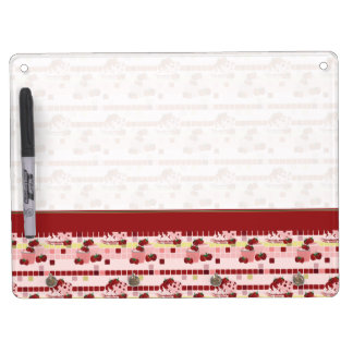 Strawberry Sweet Treats Pattern With Border Dry Erase Board With Key Ring Holder