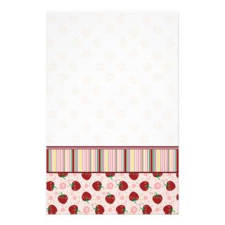 Strawberry Swirl Pattern With Border Customized Stationery