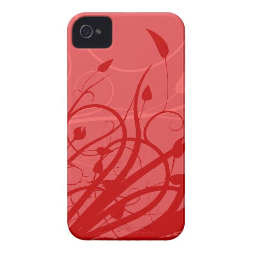 Strawberry Swirl Pink & Red Girly Floral Design iPhone 4 Covers