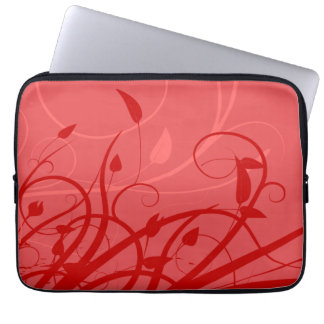 Strawberry Swirl Pink & Red Girly Floral Design Laptop Sleeve