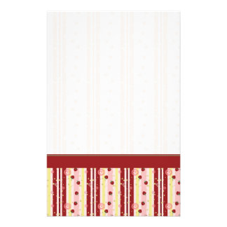 Strawberry Swirl Stripes Pattern With Border Stationery