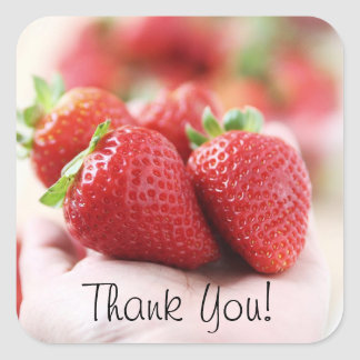 Strawberry - Thank you! Square Sticker