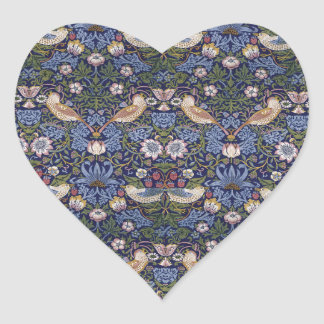 Strawberry Thief by William Morris Heart Sticker