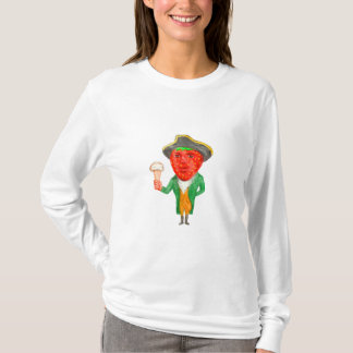 Strawberry Tricorn Hat Ice Cream Victorian Gentlem T-Shirt
