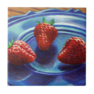 Strawberry Trio Ceramic Tile