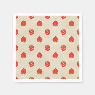 Strawberry Vintage Girly Rustic Strawberries Print Disposable Napkin