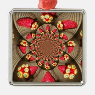 STRAWBERRY VINTAGE RED Premium Square Ornaments